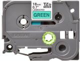 Banda continua laminata Brother TZE741 18mm 8m Negru pe Verde
