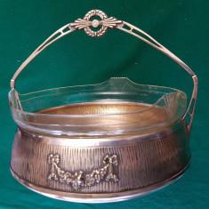 FRUCTIERA,COS PENTRU FRUCTE,ARGINTAT CU CRISTAL- stil -SECESSION-AUSTRIA -1900