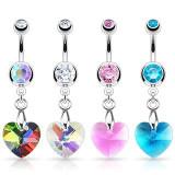 Piercing pentru buric – inimă din zircon, diverse culori - Culoare zirconiu piercing: Transparent - C