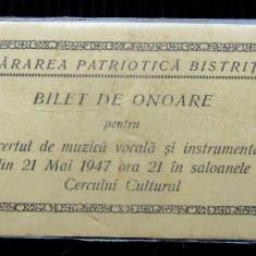Bilet de Onoare pentru Concert de muzica vocala si instrumentala.Bistrita 1947.