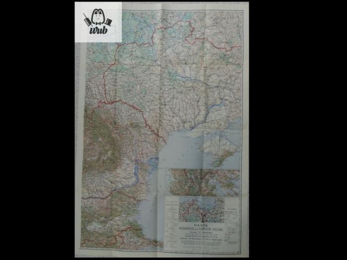 Harta color Romania mare + tarile vecine 1/ 1.500.000 - cca 100 cm/ 50