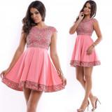 Cumpara ieftin Rochie ocazie scurta cloche roz cu corset si tiv brodat