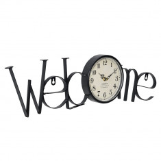 Ceas design de perete - Model 26 Welcome, metal/plastic, 60,5 x 3,5 x 16,5 cm, multicolor