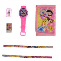 Set pentru copii cu ceas si portofel cu printese din desene animate - 5018607