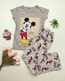 Pijama dama ieftina bumbac cu tricou gri si pantaloni lungi gri cu imprimeu MK Photo
