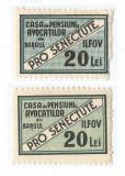 România, lot 119 cu 2 timbre fiscale locale Ilfov, Pro Senectute, 20 lei, MH/MNH