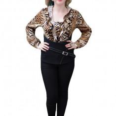 Bluza tinereasca cu design animal-print in nuante negru-maro