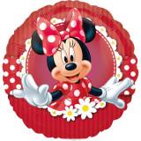 Balon mini folie Minnie Mouse - 23cm, umflat + bat si rozeta, Amscan 24820