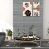 Tapet perete autocolant 3D, 10 buc., antracit, model cărămizi, vidaXL