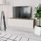 Comodă TV, PAL 120 x 40 x 34 cm Alb foarte lucios și stejar