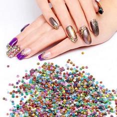 Strasuri unghii 3D culori neon, carusel disc pietricele decorative nail art, diverse marimi
