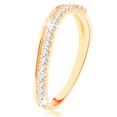 Inel realizat din aur galben de 14K - linie ondulată din zirconii netede şi transparente - Marime inel: 49