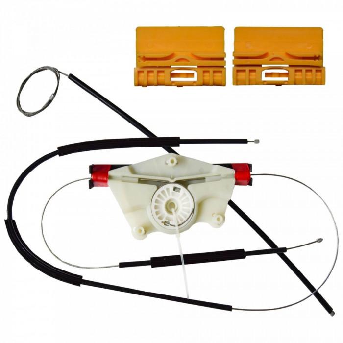 Kit reparatie Mecanism ridicare geam Audi A4 (B6 , B7) 2000-2008, Seat Exeo (3R) 2008-2013; usa Fata partea Dreapta , cablu cu rola si suporti geam Kf
