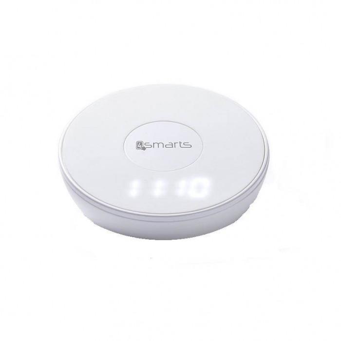 Incarcator Universal Inductie cu functii de lumina/ceas/alarma 4smarts Inductive Fast Charger VoltBeam N8 10W Alb