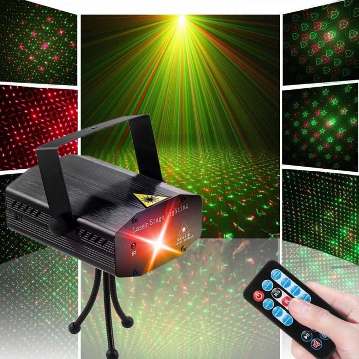 Proiector laser 6 figurine, proiectie rosu si verde, telecomanda, senzor sunet
