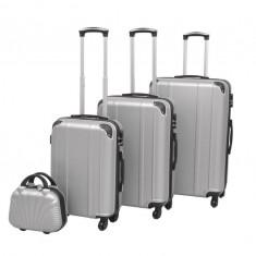 Set de valize carcasă tare, argintiu, 4 buc.