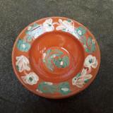 8. Farfurie veche din ceramica pentru agatat pe perete blid vechi lut 22,5 cm