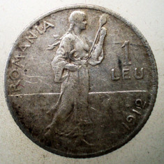 R.038 ROMANIA CAROL I 1 LEU 1912 ARGINT 5g