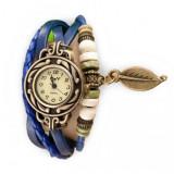 Cumpara ieftin Ceas de dama Retro Vintage CS03, curea din piele, accesoriu frunza,Blue