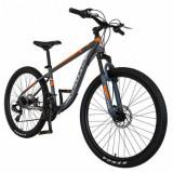 Cumpara ieftin Bicicleta MTB-HT Velors V2611B, roti 26inch, frane mecanice disc, cadru otel 17.5inch, 21 viteze (Gri/Portocaliu)
