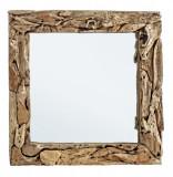 Oglinda decorativa perete cu rama lemn natur Raven 90 cm x 8 cm x 90 cm, Bizzotto