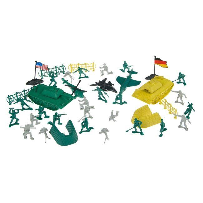 Set jucarie interactiva pentru copii,, model cu 60 de soldati, avioane si tancuri, 34×5.5×27 cm