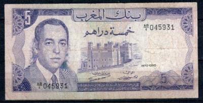 Maroc 1970 - 5 dirhams, circulata foto