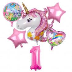 Set 6 baloane folie Unicorn magic My Little Pony cifra 1 117 x 85 cm