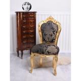 Scaun baroc din lemn auriu cu tapiterie din matase albastra CAT530A34, Scaune
