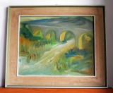 Viaduct - pictura originala ulei pe panza cu passepartout, inramata 64x54cm, Portrete, Impresionism