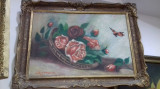 Tablou pictura trandafiri 9, Natura statica, Tempera, Realism
