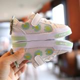 Adidasi albi pentru fetite - Margareta verde (Marime Disponibila: Marimea 23)