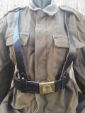 Centura militara romaneasca cu ham si pafta RSR piele neagra