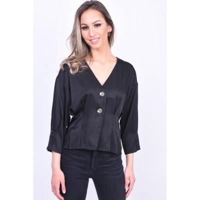 Bluza Eleganta Vero Moda Hanna Button 3/4 Negru foto