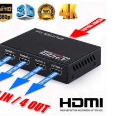 Splitter 1x4 Iesire HDMI Amplificate Compatible HDCP UHD 4K 3D
