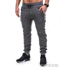 Pantaloni pentru barbati de trening, gri-inchis, fermoare decorative, banda jos, cu siret, bumbac - p421