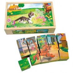 Set Cuburi de Lemn Animale Domestice