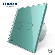 Intrerupator dublu cap scara / cap cruce cu touch Livolo din sticla, Verde