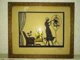 Tablou vechi cu siluete Art Deco din hartie decupata, Hans Brasch, original