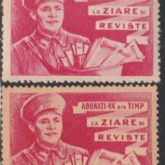1961 Romania - 2 vignete Abonati-va la ziare si reviste, difuzarea presei