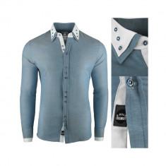 Camasa pentru barbati super slim fit elastica casual cu guler blackrock basic gri verzui