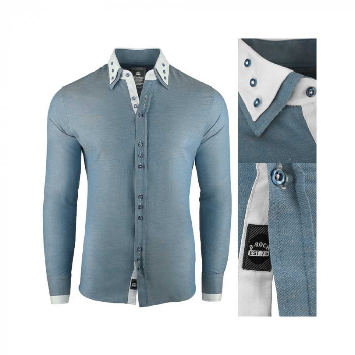 Camasa pentru barbati, super slim fit, elastica, casual, cu guler - blackrock basic gri verzui