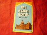 Eticheta - Reclama Taj Mahal Hotel Bombay - India , interbelica