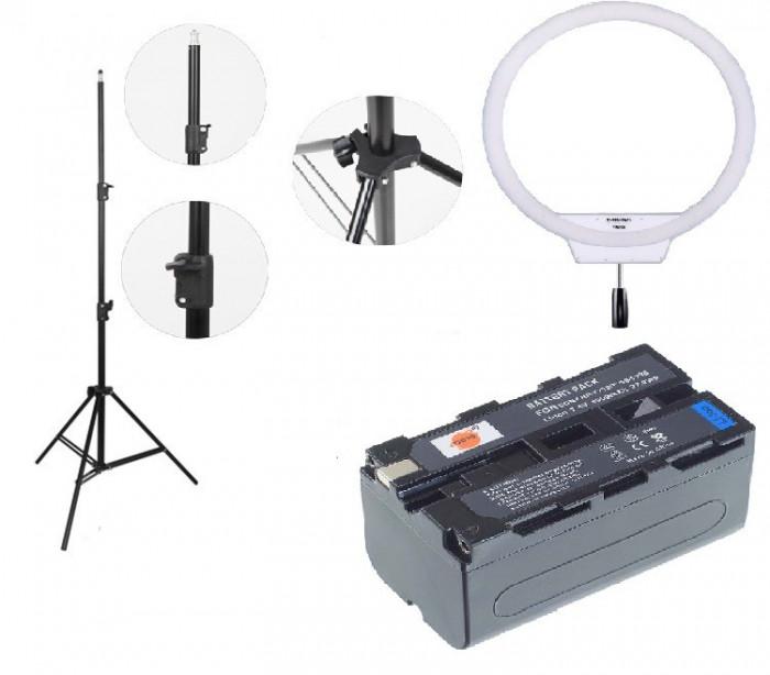 Kit lumina continua Lampa Yongnuo YN608 3200K-5500K+2x Acumulatori Dste NP F+incarcator+stativ