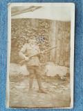 161 - Fotografie veche soldat cu arma WW1