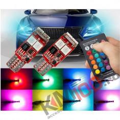 Set pozitii T10 LED RGB cu telecomanda - T10RGB01 (set 2 buc.)