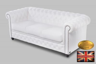 Canapea din piele naturală de 3 locuri Chesterfield Brand foto