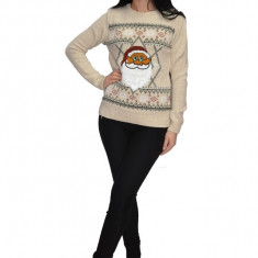 Bluza tricotata ,imprimeu Mos Craciun,nuanta de bej