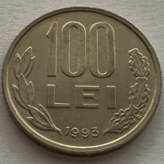 100 Lei 1993, Romania, a UNC, Luciu de batere