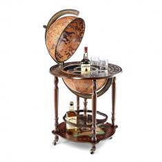 Bar Glob Pamantesc 40 cm, sfera rotativa, pe rotile, Zoffoli by AleXer, ZFI01, lemn, mdf, suport aditional de pahare inclus
